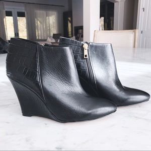 Ann Taylor Black Leather Booties